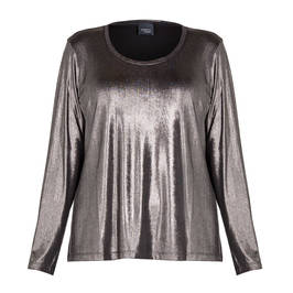PERSONA BY MARINA RINALDI METALLIC ANTHRACIRTE TOP - Plus Size Collection