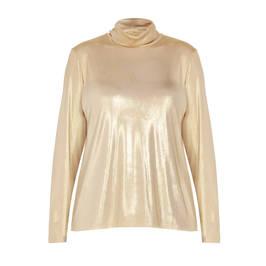 PERSONA BY MARINA RINALDI METALLIC GOLD POLO NECK - Plus Size Collection