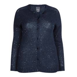 PERSONA BY MARINA RINALDI NAVY SEQUIN MOHAIR CARDIGAN - Plus Size Collection