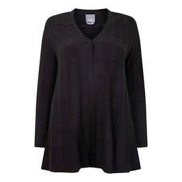 PERSONA BY MARINA RINALDI GRID KNIT CARIDGAN BLACK - Plus Size Collection