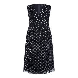 PERSONA BY MARINA RINALDI NAVY POLKA DOT DRESS OPTIONAL SLEEVE - Plus Size Collection