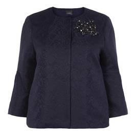 PERSONA BY MARINA RINALDI EMBELLISHED NAVY BROCADE JACKET - Plus Size Collection