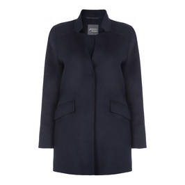 PERSONA BY MARINA RINALDI NAVY DOUBLE FACE WOOL BLEND COAT - Plus Size Collection