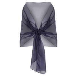 PERSONA BY MARINA RINALDI SILK STOLE NAVY - Plus Size Collection