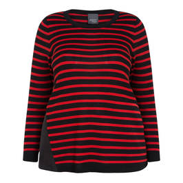 PERSONA BY MARINA RINALDI RED AND BLACK STRIPE SWEATER - Plus Size Collection