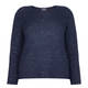 PERSONA NAVY HORIZONTAL RIB SWEATER WITH SEQUINS