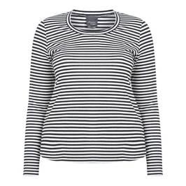 PERSONA BY MARINA RINALDI LUREX STRIPE TOP BLACK AND WHITE - Plus Size Collection
