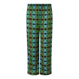 PERSONA BY MARINA RINALDI SATIN TROUSER PRINT GREEN - Plus Size Collection