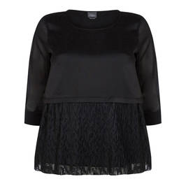 PERSONA BY MARINA RINALDI BLACK TOP WITH LACE HEM - Plus Size Collection