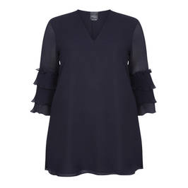 PERSONA BY MARINA RINALDI RUFFLE SLEEVE TUNIC NAVY - Plus Size Collection