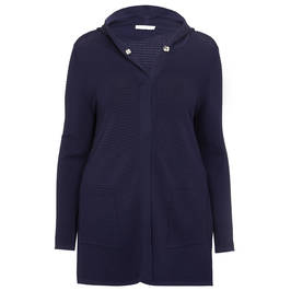 PIAZZA DELLA SCALA LONG NAVY TEXTURED CARDIGAN - Plus Size Collection