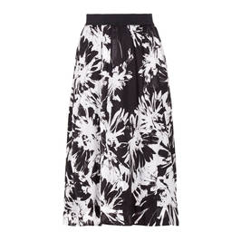 PIERO MORETTI ELASTICATED WAIST BLACK AND WHITE SKIRT  - Plus Size Collection