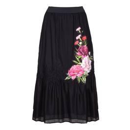PIERO MORETTI BLACK TIERED APPLIQUE MAXI SKIRT - Plus Size Collection