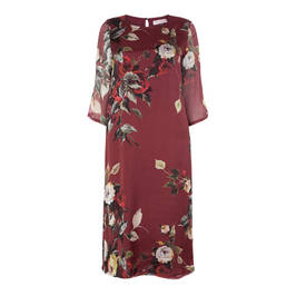 PIERO MORETTI BURGUNDY ROSE PRINT SILK CHIFFON DRESS - Plus Size Collection