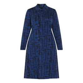 QNEEL PRINT DRESS ROYAL BLUE  - Plus Size Collection
