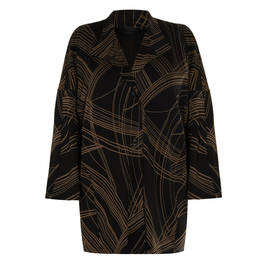 QNEEL LONG JACKET WITH FINE LINE PRINT  - Plus Size Collection