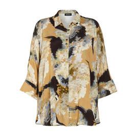 BEIGE KIMONO SLEEVE PRINT SHIRT - Plus Size Collection