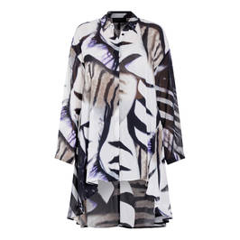 QNEEL ABSTRACT ZEBRA OVERSIZE GEORGETTE SHIRT  - Plus Size Collection