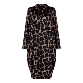 ALEMBIKA GIRAFFE PRINT SHIRT COLLAR DRESS - Plus Size Collection