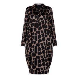 ALEMBIKA GIRAFFE PRINT SHIRT COLLAR DRESS - Plus Size Collection