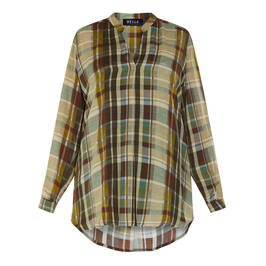 BEIGE CHECK TUNIC GREEN - Plus Size Collection