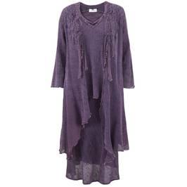 Ann Balon aubergine 3 piece set - jacket, camisole and skirt - Plus Size Collection