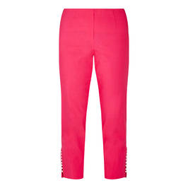 BEIGE PEARL HEM TROUSERS CERISE  - Plus Size Collection