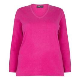 SANDRA PORTELLI FUCHsIA CASHMERE V-NECK SWEATER - Plus Size Collection