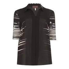SEMPRE PIU black abstract stripe SHIRT - Plus Size Collection