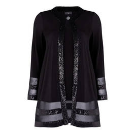TIA JERSEY VEST AND EMBELLISHED JACKET TWINSET BLACK - Plus Size Collection