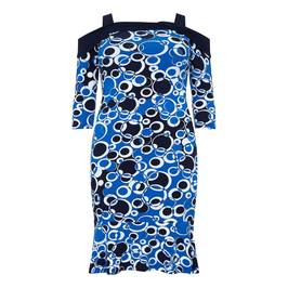 TIA DRESS, JERSEY CIRCLE PRINT COLD SHOULD - Plus Size Collection