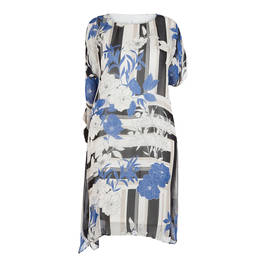 TIA CHIFFON COLD SHOULDER PRINTED DRESS - Plus Size Collection