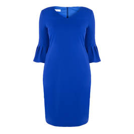 TIA TRUMPET CUFF DRESS COBALT - Plus Size Collection