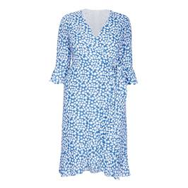 TIA WRAP DRESS DOT PRINT BLUE - Plus Size Collection