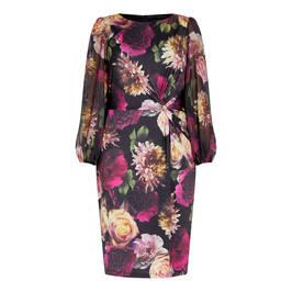 TIA FLORAL PRINT DRESS WITH WAIST TWIST - Plus Size Collection