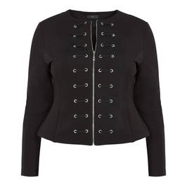 TIA FITTED ZIP UP EYELET DETAIL JACKET BLACK - Plus Size Collection