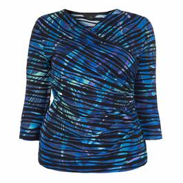 TIA CROSSOVER FRONT TEXTURED PRINT TOP - Plus Size Collection