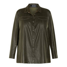 VERPASS ECO LEATHER SHIRT GREEN - Plus Size Collection