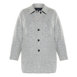 BEIGE BOILED WOOL JACKET GREY - Plus Size Collection