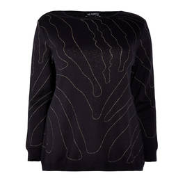 VERPASS ABSTRACT INTARSIA JUMPER BLACK - Plus Size Collection