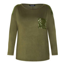 VERPASS TOP GREEN SEQUIN EMBELLISHMENT - Plus Size Collection