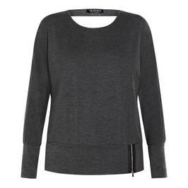 VERPASS TOP GREY WITH CUT-OUT AND ZIP GREY - Plus Size Collection