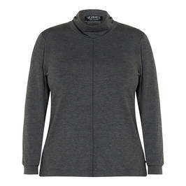 VERPASS POLO NECK TOP GREY - Plus Size Collection