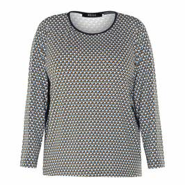 BEIGE GEOMETRIC PRINT JERSEY TOP - Plus Size Collection