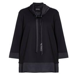 VERPASS TOP SATIN TRIM BLACK - Plus Size Collection