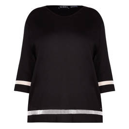 VERPASS TUNIC WITH WHITE MESH INSERT BLACK  - Plus Size Collection
