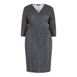 VERPASS CROSS-OVER FRONT PRINT DRESS - Plus Size Collection