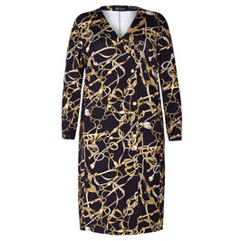 BEIGE EQUESTRIAN MOTIF DRESS BLACK AND GOLD - Plus Size Collection