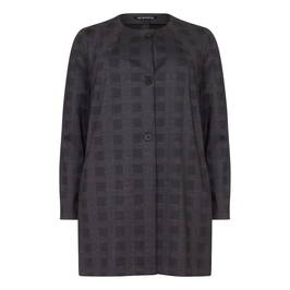 VERPASS SINGLE BREASTED LONG CHECK JACKET - Plus Size Collection