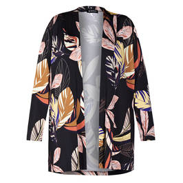 VERPASS LEAF PRINT JACKET BLACK - Plus Size Collection